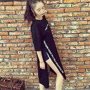 2018 韓国ファッション レディース トップス 春夏 半袖 ロゴ ロングTシャツ 個性的 奇抜 POP かわいい 個性 ダンス 衣…