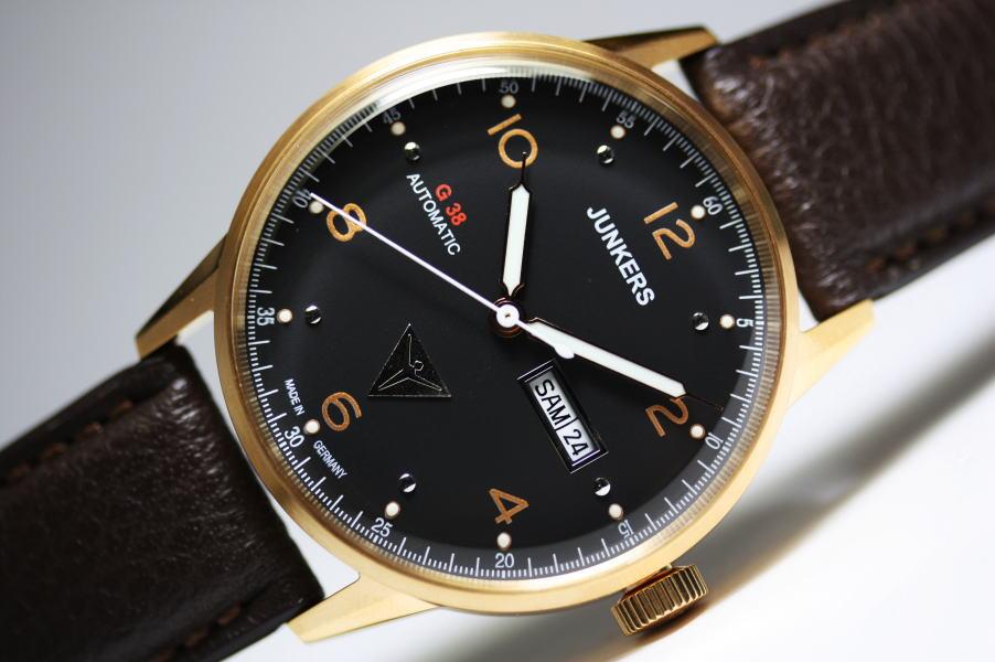 ドイツ製Junkers【ユンカース】G38デイデイト自動巻き腕時計/パイロットウォッチ/正規品