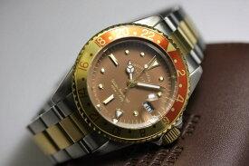 ヴィンテージ・デザインのVAGUE WATCH Co.【ヴァーグ・ウォッチ・カンパニー】ブラウンGMTクォーツ腕時計/100m防水