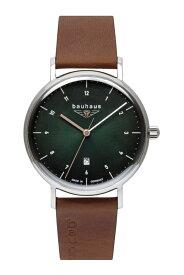ドイツ製 bauhaus バウハウス センターセコンド クォーツ腕時計 バウハウス・デザイン Uhrenwerk Ruhla ルーラ Made in Germany 41ミリ メンズウォッチ 男性用腕時計 2140-4QZ グリーンダイアル