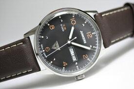 ドイツ製Junkers【ユンカース】G38クォーツ・デイデイト腕時計/パイロットウォッチ/正規代理店商品/メーカー希望小売価格35,200円/送料無料/ブラックダイアル