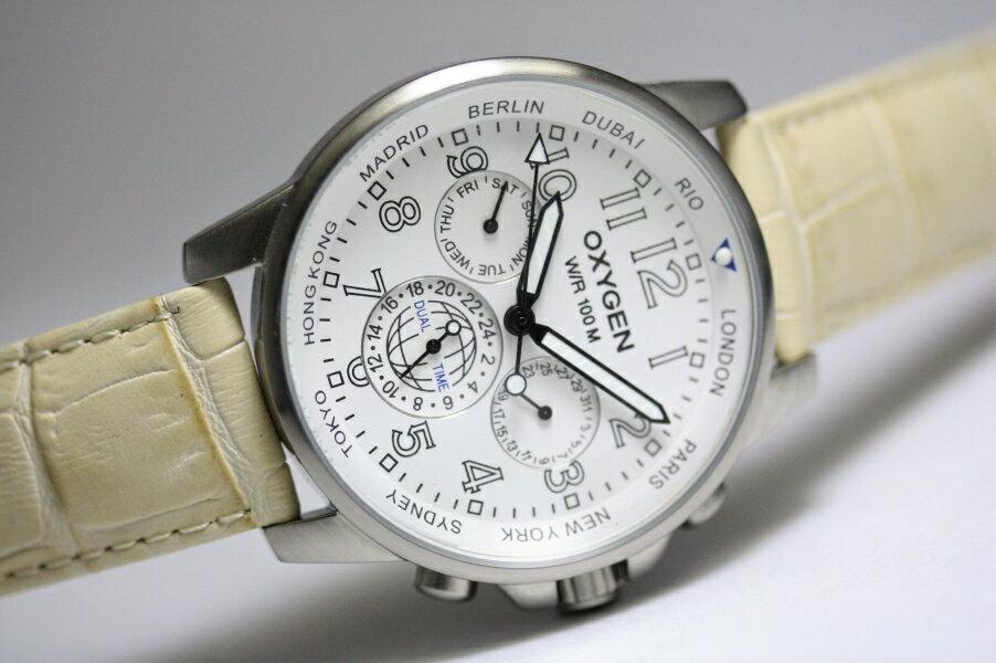 【デッドストック】フランスのOXYGEN【オキシゲン】Travel timeクォーツ・デュアルタイム・ウォッチ/男性用腕時計/正規代理店商品