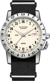限定1000本の24時間表示!スイス製GLYCINE【グリシン】Airman Vintage【エアマン・ビンテージ】Noon自動巻き腕時計/ミリタリーウォッチ/腕時計/アメリカ空軍パイロット/グライシン/エアマン PM/AM