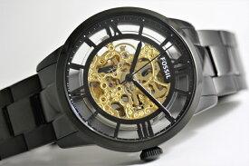 FOSSIL【フォッシル】TOWNSMANスケルトン自動巻き腕時計/デザインウォッチ/正規代理店商品/メンズ/送料無料/クリスマス/腕時計/ブラック×ゴールド