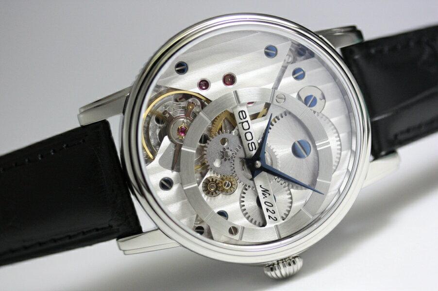 世界限定999本のみ!スイス製EPOS【エポス】OEUVRE D'ART 3435スケルトン手巻き腕時計/正規代理店商品