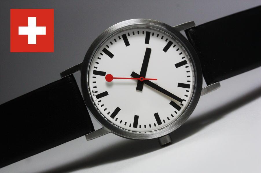 よりオリジナルに忠実なデザイン!スイス鉄道公式時計MONDAINE【モンディーン】ロゴなし仕様の鉄道腕時計/ケース直径36ミリのボーイズサイズ/正規代理店商品