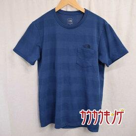 【中古】(良品) THE NORTH FACE/ノースフェイス ショートスリーブハニカムボーダーティー ポケット 半袖 Tシャツ ネイビー サイズM NT11899