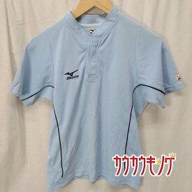 【中古】MIZUNO ミズノ 半袖シャツ ライトブルー サイズL 卓球ウェア ユニフォーム JTTA ポロシャツ レディース