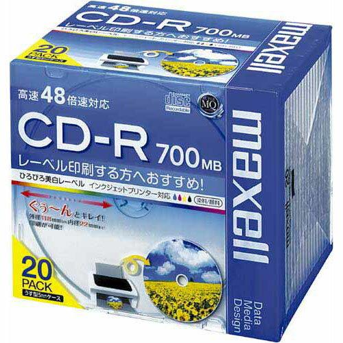 日立マクセル CD−R 700MB プリンタブル 20枚5mmP【1one】