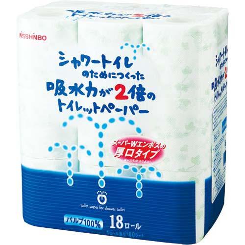 日清紡PP シャワートイレ ダブル23m 18個関連ワード【トイレットペーパー ダブル 18ロール】