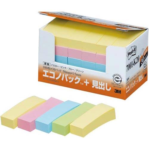 スリーエムジャパン ポスト・イット再生紙見出し 50×15 混色60冊