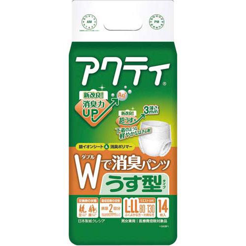 日本製紙クレシア アクティWで消臭パンツうす型タイプL−LL14枚