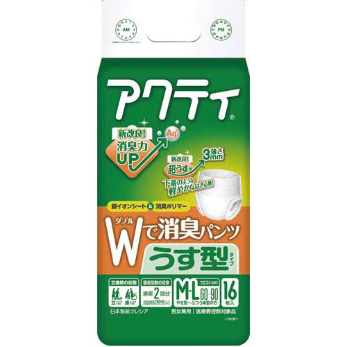 日本製紙クレシア アクティWで消臭パンツうす型タイプM−L16枚