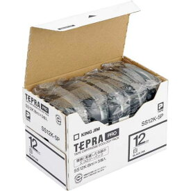 キングジム テプラ PROテープ エコ 白色12mm黒文字×5