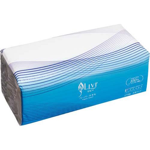 ユニバーサルペーパー リビィペーパータオル中判210枚×40個