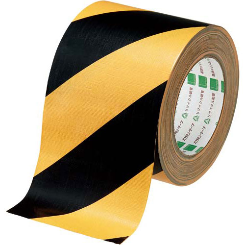 オカモト 布テープ トラ 黄/黒 幅100mm 1巻