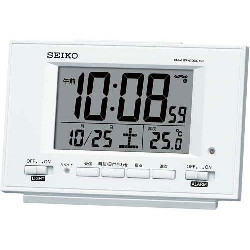セイコークロック セイコー 自動点灯電波卓上時計 パールホワイト