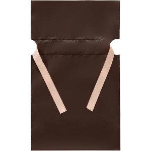 フロンティア 梨地ポリ巾着袋(底マチ付) ブラウン S 20枚