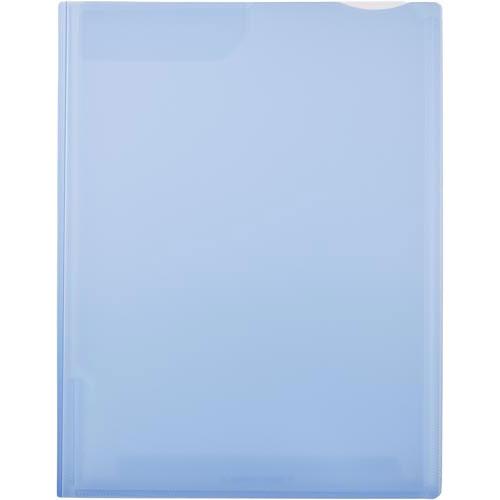 キングジム スーパーハードホルダー2ポケット透明 マチ付 青