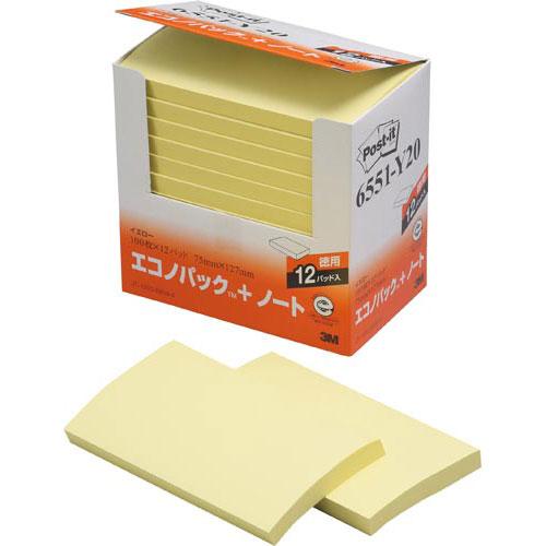 スリーエムジャパン ポスト・イット再生紙ノート75×127 黄12冊