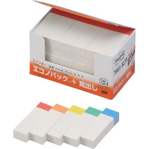 スリーエムジャパン ポスト・イット再生紙見出し50×15色帯5色30冊