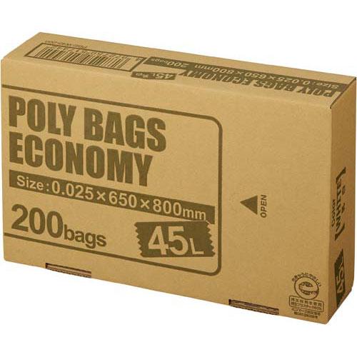 オルディ ポリバツグエコノミーBOX 低 45L乳白200枚関連ワード【ビニール袋 ポリ袋 レジ袋】