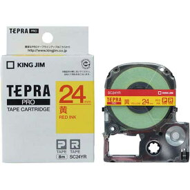 キングジム テプラ PROテープ パステル黄ラベル24mm赤字