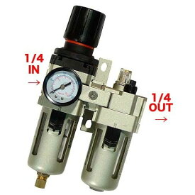 7/4-11はポイント最大44倍/ レギュレーター付エアーフィルター 1/4PT(2分)オイラー付 フルオート 圧力計 減圧弁 ルブリケーター 1602