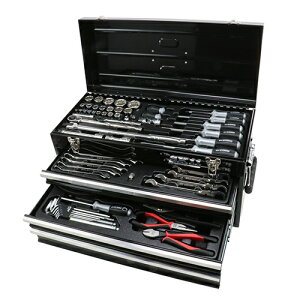 買い物まわりで最大44倍/E-Value 整備工具セット 117pcs 幅600×高さ315×奥行き255mm SST-19117RE ブラック 工具箱 ツールボックス ツールセット ツールキット ツールチェスト トップチェスト スチール