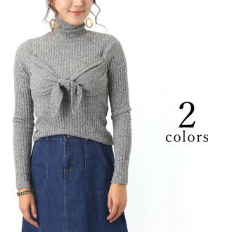 kawa | Rakuten Global Market: Front ribbon rib knit Lady's tops ...