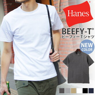 Hanes Hanes BEEFY-T short sleeve T shirt sportswear tag less short sleeve T shirt mens inner plain simple tops cotton BEEFY beef