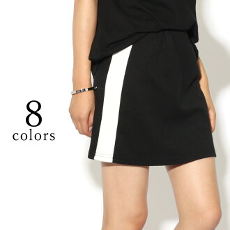 It is entering waist rubber color by color mini length line in a knee in a knee in eight colors of selectable ★ side line light sweat shirt Thailand Tomi varnish cart Lady's bottoms tight skirt sweat shirts Pau tea ass leisure