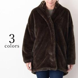 フェイクファーノーカラーコート レディース アウター ジャケット ショート 秋冬 ポケット ブルゾン ゆったり 大きめ カジュアル きれいめ ふわふわ 暖かい 防寒 上着 羽織り エコファー 上品 あったか