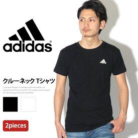 adidas アディダス 2P クルーネック Tシャツ メンズ トップス インナー 半袖 無地 シンプル 白 黒 パックT 2枚セット 2枚組 丸首 ブランド スポーツ スポーツウェア 運動 ジム 吸汗速乾