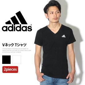 adidas アディダス 2P Vネック Tシャツ メンズ トップス インナー 半袖 無地 シンプル 白 黒 パックT 2枚セット 2枚組 ブランド スポーツ スポーツウェア 運動 ジム 吸汗速乾 トレーニング