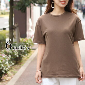 Crew neck stretch short sleeves cut-and-sew Lady's tops pullover round neckline T-shirt t shirt plain fabric Shin pull casual basic slim compact lei yard inner fitting elasticity