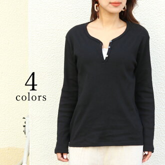 Henley neck basic cut-and-sew Lady's tops long sleeves T-shirt Ron T lei yard layering plain fabric button casual Shin pull crew neck V neck on the small side tight fashion stretch