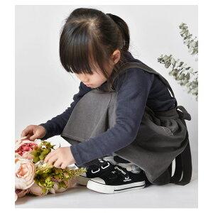 コットンリネンワンピースエプロンキッズ女の子ジュニア子供子どもエプロンワンピースタブリエ綿麻ナチュラルキッチンガーデニングクッキングペアルック親子ペアおしゃれかわいい