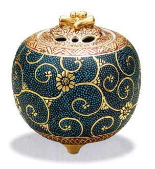 사기 그릇 「3.5호 향로・원금 아오쓰부철선」축하・해외에의 선물・기프트