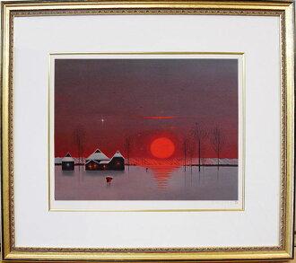 사이토 신이치 석판화 「붉은 햇빛의 마을」