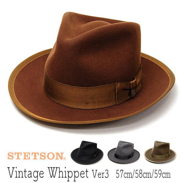 """帽子 [ウインターセール] アメリカ""""STETSON(ステットソン)""""ウールフエルト中折れ帽[VINTAGE WHIPPET Ver3][ハット] 【あす楽対応】【送料無料】 18aw"""