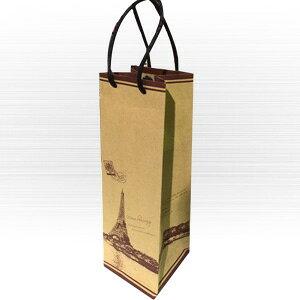 手提げ紙袋 ワイン用 バック クラフト エッフェル 茶 (ワイン袋) 【ラッピング ギフト袋】※別途包装などの対応はしておりません。ワイン用紙袋 ボトル用紙袋 ボトルバック ワインバッ