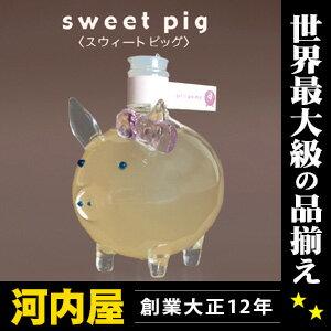 【白桃】【子豚】リボンでお洒落したカワイイ子ブタちゃんの白桃のお酒 80ml 14度 箱付 kawahc