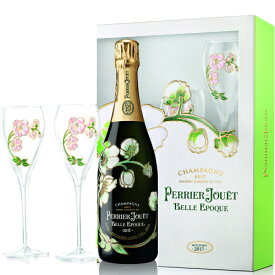 ペリエジュエ ベルエポック ブラン 750ml 1本 + ペアグラス (グラス2脚) セット ギフト箱付 シャンパン PERRIER JOUET BELLE EPOQUE Champagne Glass 2set シャンパーニュ [2011] ヴィンテージ kawahc