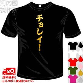 河内國製作所 「チョレイ!Tシャツ」全5色。卓球おもしろTシャツ 文字T-shirt おもしろてぃーしゃつ 半袖ドライTシャツ メール便は送料無料