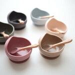 kawaii&børn*original silicon bowl&spoon set シリコンボウル&スプーンセット 吸盤ボウル ひっくり返らない お皿 離乳食食器 出産祝い