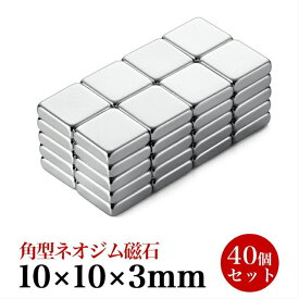 ネオジム磁石 小型 角型 強力 マグネット 10 x 10 x 3mm 40個セット