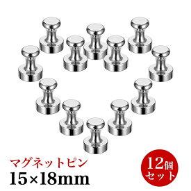 超強力 マグネットピン 磁石 フック 強力 ネオジム マグネット 15*18mm 12個セット