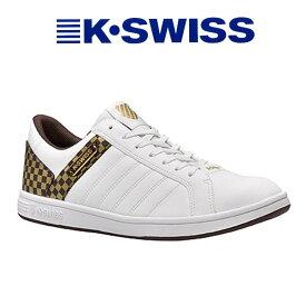 ケースイス スニーカー k-swiss メンズ KSL03 ホワイト/ブラウン/ゴールド 白/茶/金 送料無料