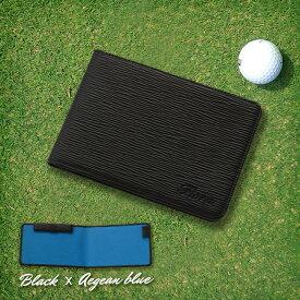 Fiora ゴルフスコアカードケース 横 バインダー式 スコアカードホルダー スコアカードカバー ゴルフ用品 小物 ゴルフ小物 小物 革 ゴルフケース レザー ゴルフ好き プレゼント ゴルフグッズ 退職祝い ブルー 青
